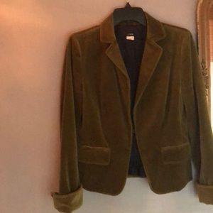 J. Crew velvet blazer in a moss green